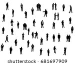 silhouette of man  go stand ... | Shutterstock . vector #681697909
