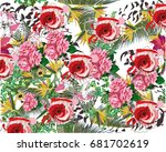 summer background with tropical ... | Shutterstock .eps vector #681702619