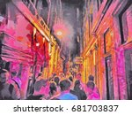 people walking on the red light ... | Shutterstock . vector #681703837