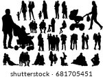 silhouette family  people with... | Shutterstock . vector #681705451