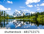 landscape reflection mount... | Shutterstock . vector #681712171