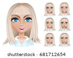 set woman with different facial ... | Shutterstock .eps vector #681712654
