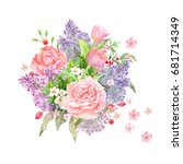 bouquet of lovely flowers for... | Shutterstock . vector #681714349