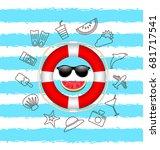 banner for summer time ... | Shutterstock .eps vector #681717541