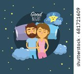 couple sleeping together with... | Shutterstock .eps vector #681721609
