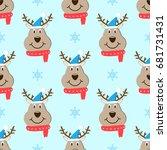 head deer cartoon christmas... | Shutterstock .eps vector #681731431