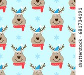 head deer cartoon christmas... | Shutterstock . vector #681734191