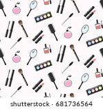 makeup tools colorful pattern | Shutterstock .eps vector #681736564