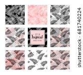 set of tropical seamless... | Shutterstock .eps vector #681740224