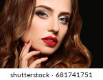 beautiful young woman with... | Shutterstock . vector #681741751