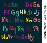 hand drawn alphabet. brush... | Shutterstock . vector #681742537