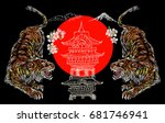 japanese tiger  flower  temple... | Shutterstock .eps vector #681746941