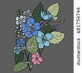 a bouquet of multicolored... | Shutterstock .eps vector #681754744