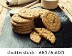 domestic stacked biscuit sweet... | Shutterstock . vector #681765031