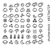 weather line icons set   big...
