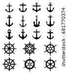 black silhouettes of anchors... | Shutterstock .eps vector #681770374