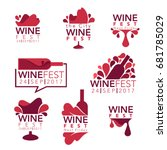 wine fest  red wine bottles and ... | Shutterstock .eps vector #681785029