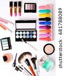make up brush  perfume  eye... | Shutterstock . vector #681788089