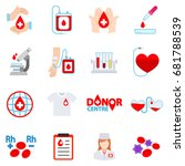 blood donation icon set.... | Shutterstock .eps vector #681788539
