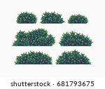 set of seven pixel art bushes... | Shutterstock .eps vector #681793675