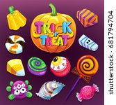 happy halloween candy set.... | Shutterstock .eps vector #681794704