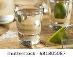 alcohol mezcal tequila shots... | Shutterstock . vector #681805087