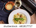 pasta with chicken  olives and... | Shutterstock . vector #681817717