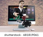 online poker game  with the... | Shutterstock . vector #681819061