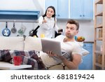 conflict between working wife... | Shutterstock . vector #681819424