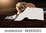 school dog with books | Shutterstock . vector #681820201