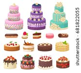 cakes icons collection. vector... | Shutterstock .eps vector #681822055