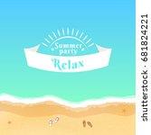 summer party. flat banner from... | Shutterstock .eps vector #681824221