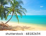 tropical beach with coconut... | Shutterstock . vector #68182654