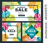 summer sale vector banners set... | Shutterstock .eps vector #681830575