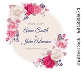 wedding invitation cards with... | Shutterstock .eps vector #681830671