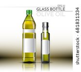 a realistic glass bottle. olive ... | Shutterstock .eps vector #681831334