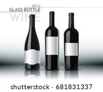 a realistic glass bottle. red... | Shutterstock .eps vector #681831337