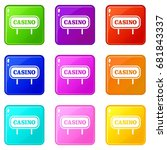 casino sign icons of 9 color... | Shutterstock .eps vector #681843337