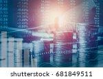 double exposure financial... | Shutterstock . vector #681849511