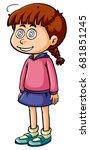 little girl with dizzy face... | Shutterstock .eps vector #681851245
