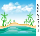 beach and sea view vector... | Shutterstock .eps vector #681858505