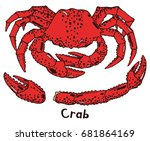 red cooked boiled crab in a... | Shutterstock .eps vector #681864169