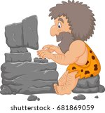 cartoon caveman using a stone... | Shutterstock .eps vector #681869059