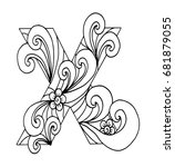 zentangle stylized alphabet.... | Shutterstock .eps vector #681879055