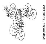 zentangle stylized alphabet.... | Shutterstock .eps vector #681881365