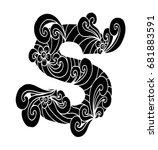 zentangle stylized alphabet.... | Shutterstock .eps vector #681883591