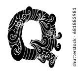 zentangle stylized alphabet.... | Shutterstock .eps vector #681883981