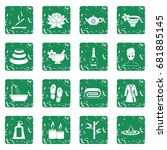 spa treatments icons set in... | Shutterstock .eps vector #681885145