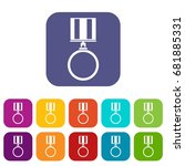 medal for services icons set... | Shutterstock .eps vector #681885331