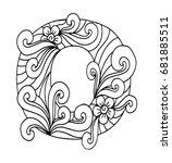 zentangle stylized alphabet.... | Shutterstock .eps vector #681885511